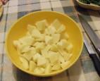 Lebbencsleves - A felkockázott krumplik.