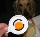 Aranygaluska - A tojásfehérje lecsorog a réseken egy tálkába.