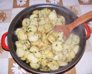 Petrezselymes újkrumpli - Kész, serpenyőben.