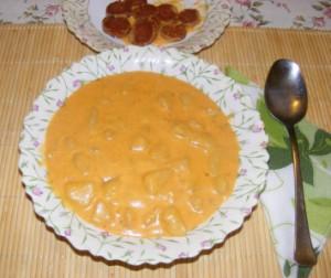 Savanyú krumplifőzelék - Kész, tányérban