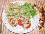 Zsályás csirkenyárs - Kész, tányéron, nyársról lehúzva.