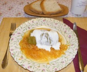 Töltött káposzta - Kész, tányérban.