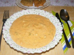 Zöldbabfőzelék - Kész, tányérban