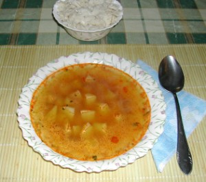 Nyári krumplileves - Kész, tányérban