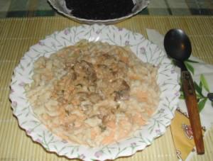 Gombapaprikás - Kész, tányérban.