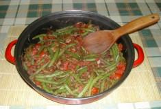 Andalúziai zöldbab - Kész, serpenyőben.