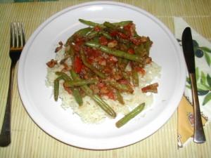 Andalúziai zöldbab - Kész, tányérban.