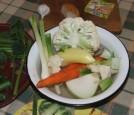 Tavaszi zöldségleves - A megmosott zöldségek.