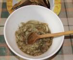 Padlizsánkrém - A vinete húsa összezúzva.